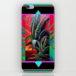 BLACK WESTERN TURQUOISE MODERN ART DESERT AGAVE CACTUS iPhone Skin
