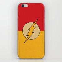 dc comics iPhone & iPod Skins featuring Flash Logo Minimalist Art Print DC Comics by The Retro Inc