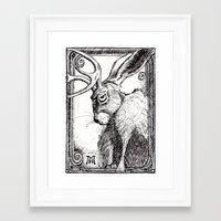 jackalope Framed Art Prints featuring Jackalope by The Art of Mark R. Hansen