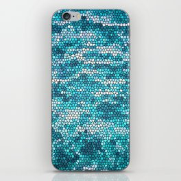 Blue and White Water Mosaic pattern iPhone Skin