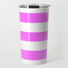 Shocking pink (Crayola) - solid color - white stripes pattern Travel Mug