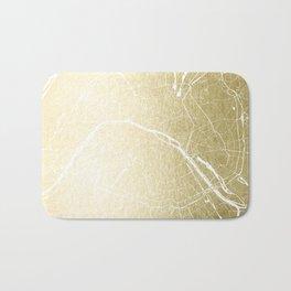Paris France Minimal Street Map - Gold Foil Glitter Bath Mat