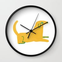 lab Wall Clocks featuring yellow lab  by sarah green