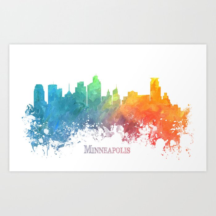 Skyline Minneapolis colored Art Print