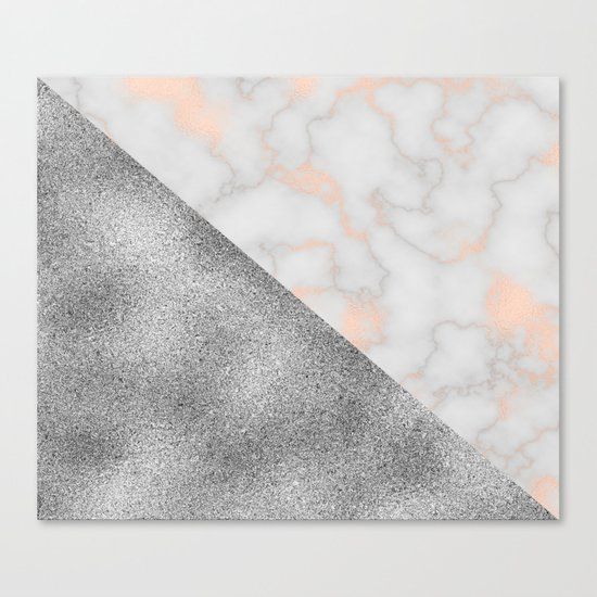Rose gold marble and silver glitter Canvas Print
