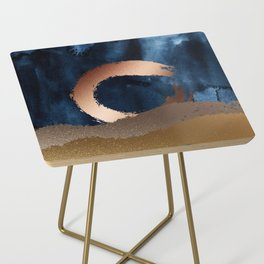Navy Blue, Gold And Copper Abstract Art Side Table