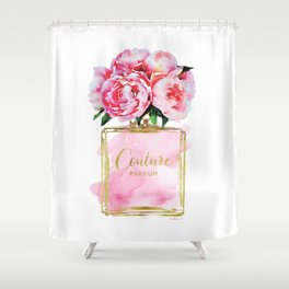 Perfume bottle with flowers, Peony, Peonies, Pink, gold, watercolor, Perfume, Pink, Gold ,Fashion Shower Curtain