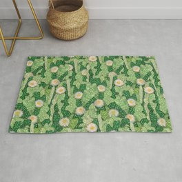 Cacti Camouflage, Succulent Bloom Floral Pattern Paper Collage Green White Rug