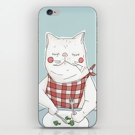 Cat eating broccoli iPhone Skin