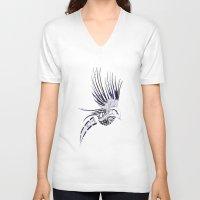 maori V-neck T-shirts featuring Colibri Maori by Aurélie B