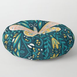 Butterfly Symmetry - Teal Palette Floor Pillow