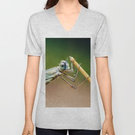 Dragonfly Macro Portrait In Nature, Nature Wall Art Print, Insect Close-Up Photography, Large Print Unisex V-Neck