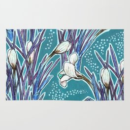Crocuses, floral pattern in turquoise, blue and white Rug