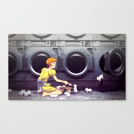 Bunny Laundry Tea Time Canvas Print
