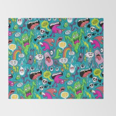 Monster Party Throw Blanket