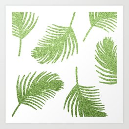 Glitter Palm Leaves Art Print