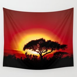 Blood Red Sunrise African Serengeti color photography / photographs Wall Tapestry