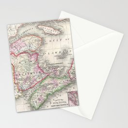 Vintage Nova Scotia and New Brunswick Map (1866) Stationery Cards