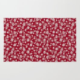 Festive Jester Red and White Christmas Holiday Snowflakes Rug