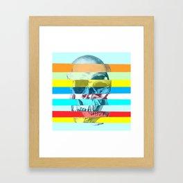Striped Glitch Skull Framed Art Print