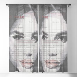 Veronica - ink drawing over vintage commercial invoice Sheer Curtain