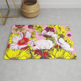 GARDEN FLOWERS IN  PINK-YELLOW- RED DRAWING Rug