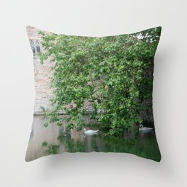Swans Under The Palace Walls Throw Pillow