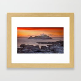 Watching the sunset at Godrevy lighthouse Framed Art Print