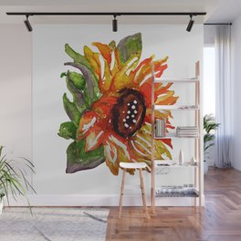Sunflower Watercolor - Yellow Floral Wall Mural