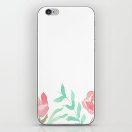 Pink Florals And Mint Leaves iPhone Skin