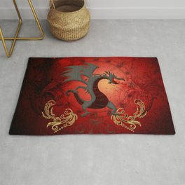 Funny dragon with floral elements Rug