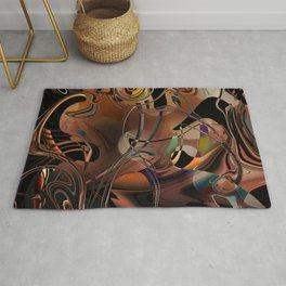 Deception copper gold brown Lines tangled design pattern Rug
