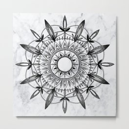 Mandala On Marble Metal Print