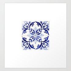 blue tile pattern VI - Azulejos, Portuguese tiles Art Print