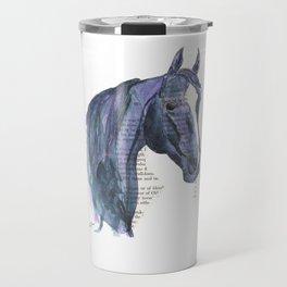 Blue & Purple Horse Illustration Travel Mug