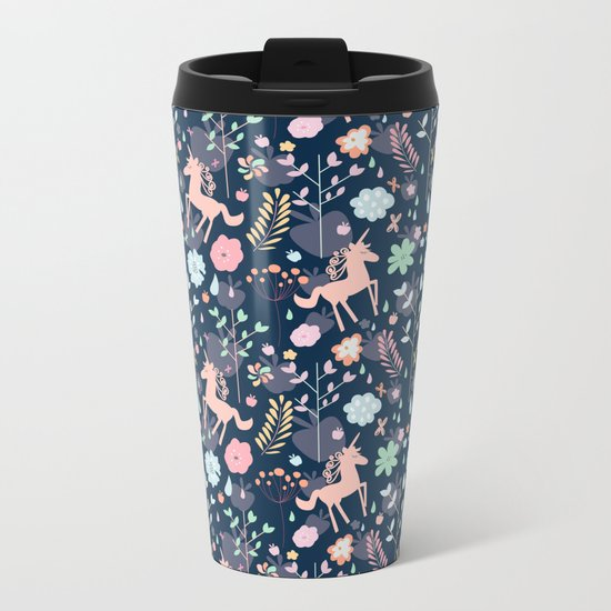 Unicorns in Hesperides Metal Travel Mug