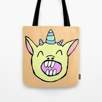 randy c Tote Bags featuring Randy by BubbleTeeth