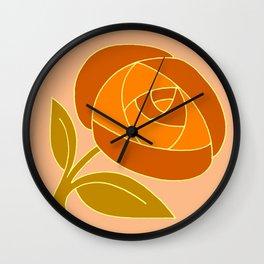 Retro Seventies style rose flower orange Wall Clock