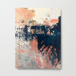 Hidden Gem [1]: an abstract mixed media piece in pink, blue, gold and white Metal Print