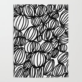 Loop black and white minimalist abstract painting mark making art print Poster