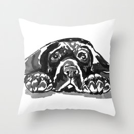 Black Lab - front view Throw Pillow