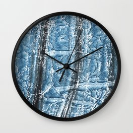Black Blue colored wash drawing texture Wall Clock