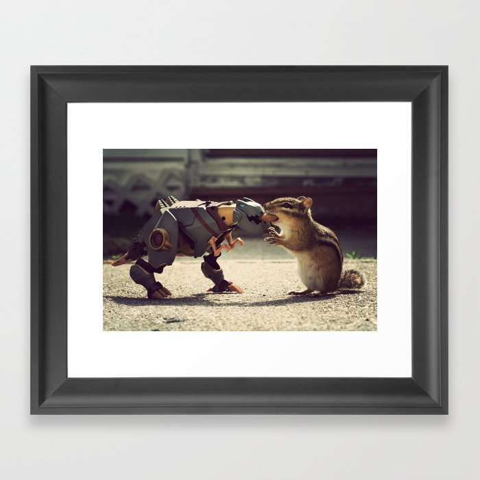 Grimlock vs Munkzilla Framed Art Print