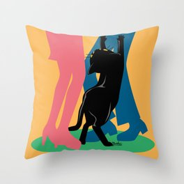 People and cat Throw Pillow