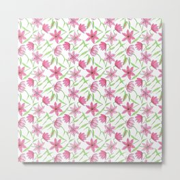 Watercolor sketched lily flowers seamless pattern Metal Print
