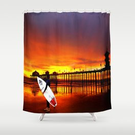 Surfer's Sunset * Huntington Beach, California Shower Curtain