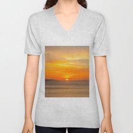 Sunset Coast with Orange Sun and Birds Unisex V-Neck