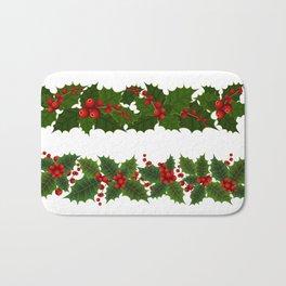 Christmas holly decoration Bath Mat