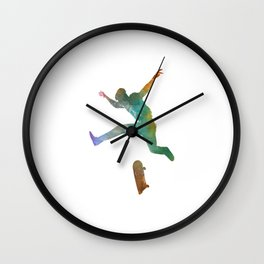 Man skateboard 02 in watercolor Wall Clock