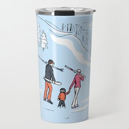 Family Skiing Day Travel Mug